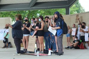 Local students speak to the group of protesters after a downtown Kalamazoo march for Black Lives Matter on June 12.  Local students organized this peaceful protest and shared poems and reflections on the topic.
