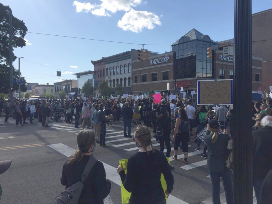 Local students march for Black Lives Matter on June 12 in downtown Kalamazoo. WMU college students and KPS high school students worked together to organize this peaceful protest.