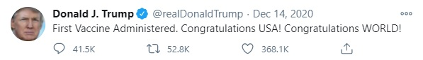 On Twitter, 45th President of the United States Donald Trump congratulates the U.S. for getting the COVID-19 vaccine administered.
