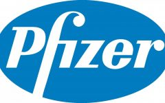 The logo of the American pharmaceutical company Pfizer. They're working with German company BioNTech to produce the new COVID-19 vaccine.