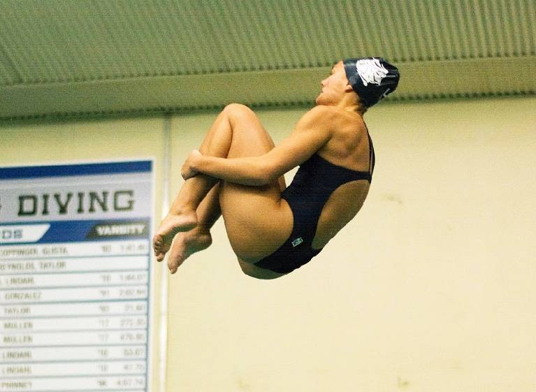 Samantha VandePol performs a dive at a Loy Norrix meet.