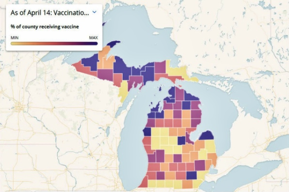 A graphic depicting the rate of vaccination by county in the state of Michigan as of April 14.