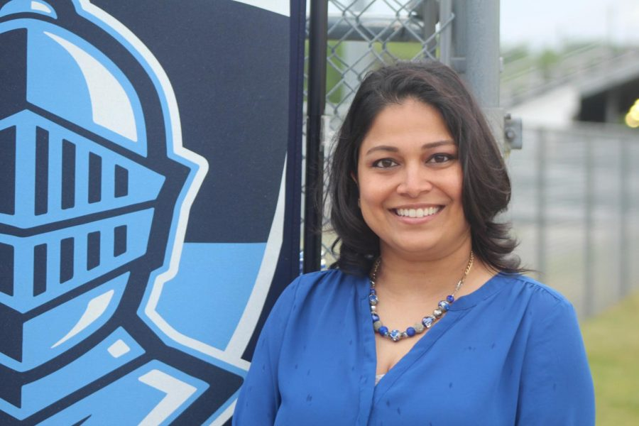 KPS Superintendent Dr. Rita Raichoudhuri poses for a photo at the Loy Norrix Class of 2021 commencement ceremony. This was one of few opportunities she had this year to attend an in-person event in her new role.