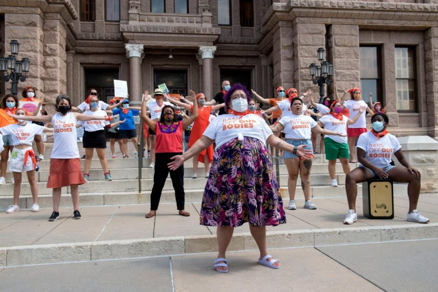 A protest is performed against Texas' new Heartbeat bill in front of the Texas Capitol on September 1, 2021.
