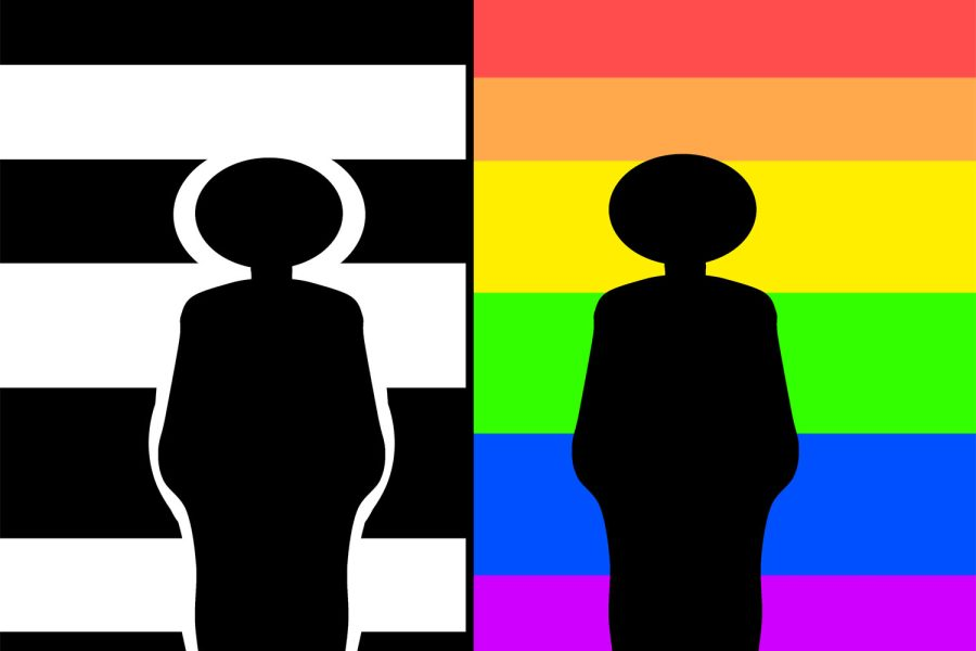 Two people with a gay and straight flag behind them. Straight on the left, gay on the right.