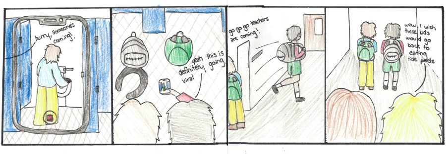 Senior Danica Harpers cartoon from their 2nd period Art Class. The cartoon depicts the ongoing Devious Lick trend.